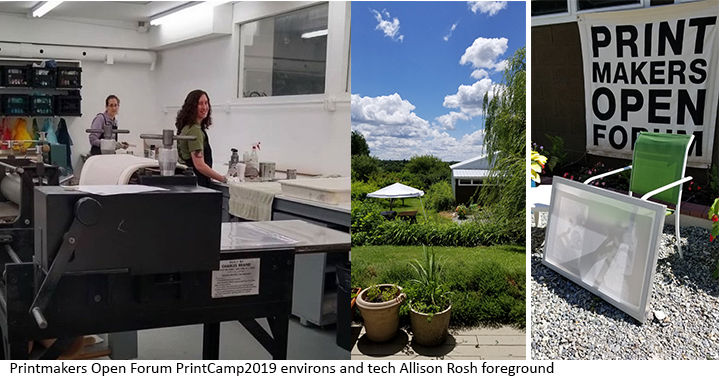 Shop environs and Allison Rosh PrintCamp2019 Printmakers Open Forum